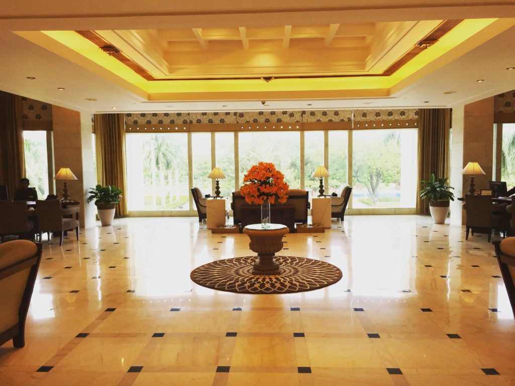 The reception area at Jaypee Palace Hotel in Agra