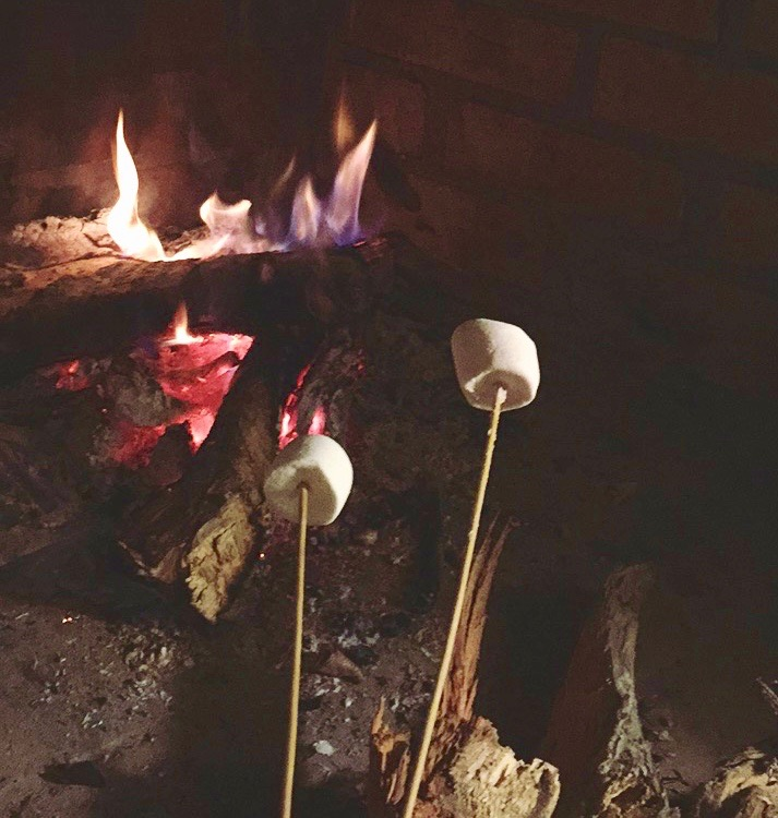 marshmallows toasted by the fireplace