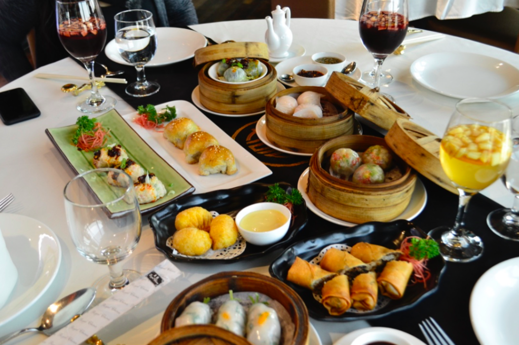 Dimsums flatlay picture at Royal China Delhi
