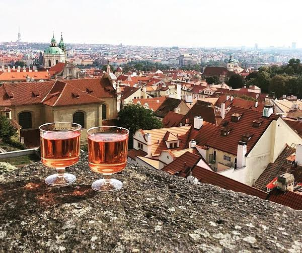 Wine at Prague Palace and view of the city