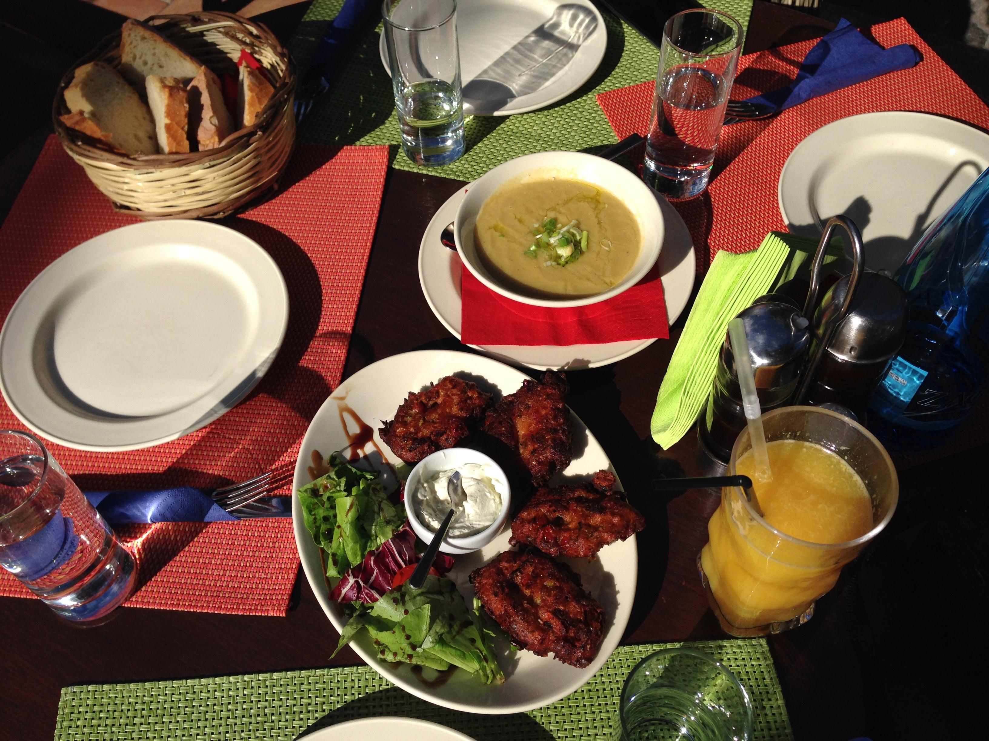 Greek food flatlay
